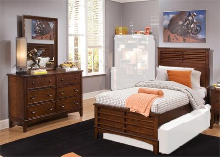 Chelsea Square Collection 628-YBR-TPBDM 3-Piece Bedroom Set with Twin Panel Bed  Dresser and Mirror in Burnished Tobacco