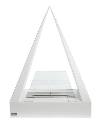 Keops Collection BB-KE-W Freestanding Ethanol Fireplace  2 Tempered Glass Panels and 1 Linear Burner in