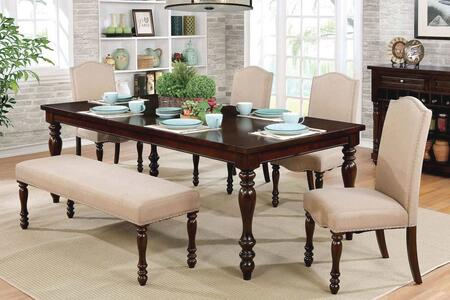 Hurdsfield Collection CM3133T4SCBN 6-Piece Dining Room Set with Rectangular Table  4 Side Chairs and Bench in Antique