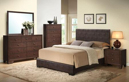 Ireland III Collection 14375FDMCN 5 PC Bedroom Set with Full Size Bed + Dresser + Mirror + Chest + Nightstand in Brown