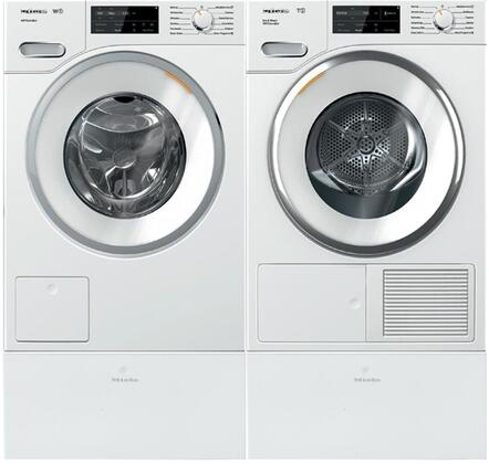 White Front Load Laundry Pair with WWF060WCS 24 inch  Front Load Washer  TWI180WP 24 inch  Electric Dryer