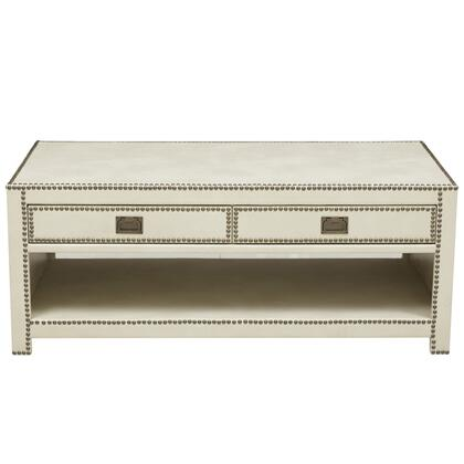 DSD047002090 Er Ivory Faux Leather Wrapped Trunk Style Cocktail Table In Cream
