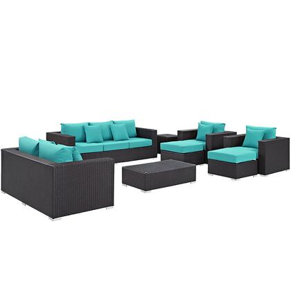Convene Collection EEI-2161-EXP-TRQ-SET 9-Piece Outdoor Patio Sofa Set with Rectangle Ottoman  Loveseat  Sofa  2 Armchairs  2 Ottomans and 2 Side Tables in