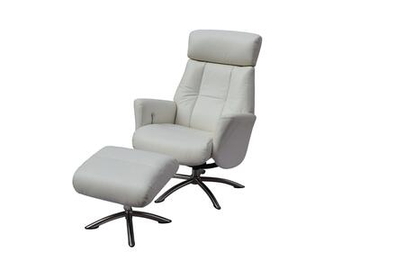 RL1452WHT Addison Recliner Armchair And Ottoman  Gray Leather  Manual Relax Function With Adjustable Headrest. Metal Brushed