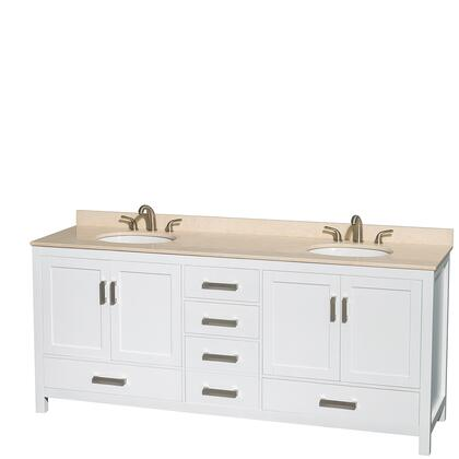 Wcs141480dwhivunomxx 80 In. Double Bathroom Vanity In White  Ivory Marble Countertop  Undermount Oval Sinks  And No