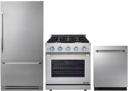 3-Piece Stainless Steel Kitchen Package with DYF36BFBSR 36 inch  Bottom Freezer Refrigerator  RNRP30GSNGH 30 inch  Slide-In Gas Range  and DDW24M998US 24 inch  Fully