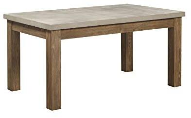 Parker Collection 71740 64 inch  Dining Table with Concrete Grey Top  Rectangular Shape and Wood Frame in Salvage Oak