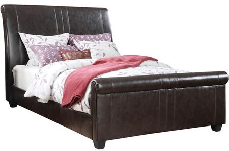 Osborn Collection 24340Q Queen Size Bed with Wood-Like Tapered Legs  Bycast PU Leather Upholstery and Wood Construction in Espresso