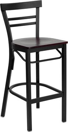 XU-DG6R9BLAD-BAR-MAHW-GG HERCULES Series Black Ladder Back Metal Restaurant Bar Stool - Mahogany Wood