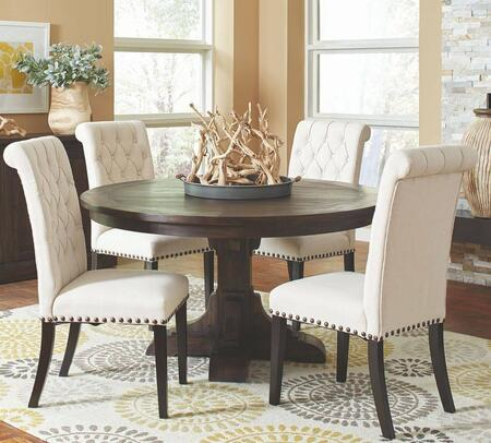 Weber Collection 107280-S5-86 5-Piece Dining Room Set with Round Dining Table and 4 Fabric Upholstered Side Chairs in Smokey Black and