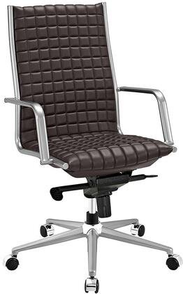 Pattern Collection EEI-2122-BRN Office Chair with 360-Degree Swivel  Adjustable Height  Tilt Control  Five Dual-Wheel Nylon Casters  Polished Steel Armrests
