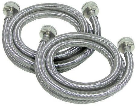 2SSFILHOSE 6 Foot High Pressure Washing Machine Fill Hoses - Stainless Steel Wrapped  Poly-Packed Pairs ( washer hose