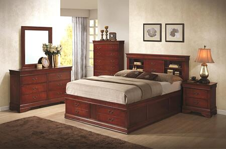 Louis Philippe 200439kedmn 4-piece Bedroom Set With King Storage Bed  Dresser  Mirror And Nightstand In Cherry