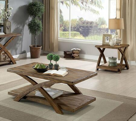 Bryanna Collection CM4178-3PK 3-Piece Living Room Table Set with Coffee Table and 2 End Tables in Antique Light