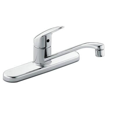 Cornerstone Collection CA40512 Chrome One-Handle Kitchen Faucet with Aerated Stream  Three Hole Mount and ADA Compliant in Chrome