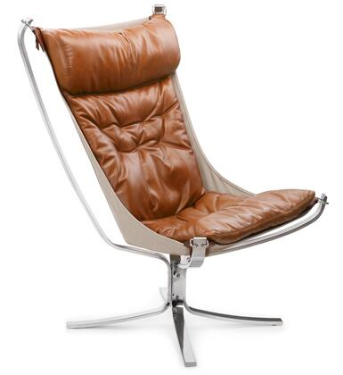 High-Back Falcon FB1329TANCHR Chair with Stainless Steel Base  Stitched Detailing and Waxy Leather in Tan and