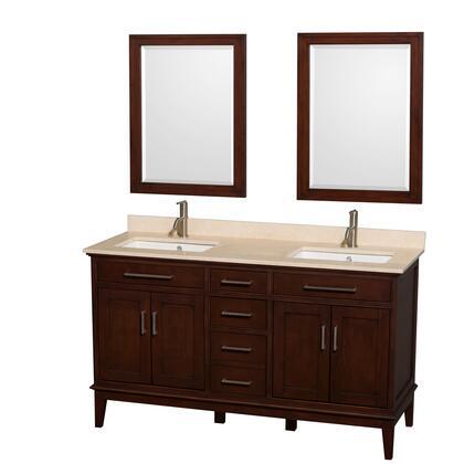 Wcv161660dcdivunsm24 60 In. Double Bathroom Vanity In Dark Chestnut  Ivory Marble Countertop  Undermount Square Sinks  And 24 In.