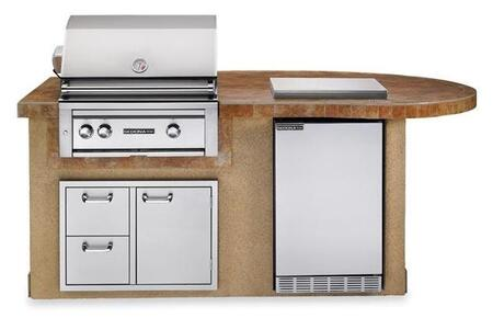 L2500SLP Sedona Deluxe Series Outdoor Kitchen Island Package with Sedona Grill  Sedona Outdoor-rated Refrigerator  Double Side Burner and Door Drawer Combo in
