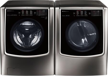 Black Stainless Steel Front Load Laundry Pair with WM9500HKA Washer and DLEX9500K Electric