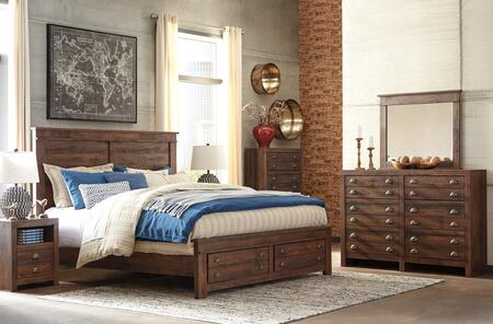 Hammerstead King Bedroom Set With Storage Bed  Dresser  Mirror And Nightstand In