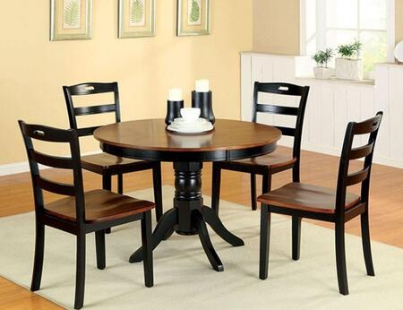 Johnstown Collection CM3027RT4SC 5-Piece Dining Room Set with Round Table and 4 Side Chairs in Antique