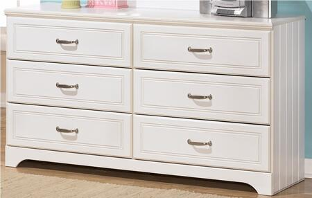 Lulu Collection B102-21 57 6-Drawer Dresser with Grooved Panels  Embossed Framing Drawers and Side Roller Glides in