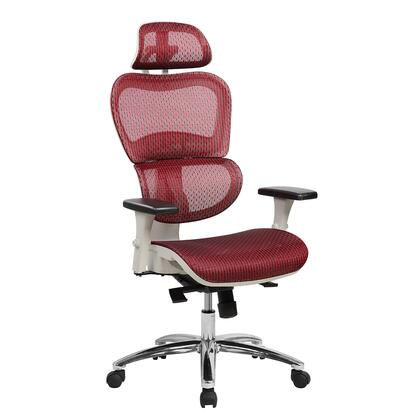 RTA-5003-RED Deluxe High Back Mesh Office Executive Chair with Neck Support. Color: