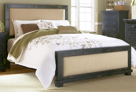 Willow P612-34-35-78 Queen Sized Upholstered Bed with Headboard  Footboard and Side Rails in Distressed