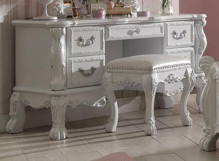 Dresden Collection 30670 58 inch  Vanity Desk with 5 Drawers  Claw Legs  Scrolled Apron  Poly Resin Ornamental Details and Solid Wood Construction in Silver