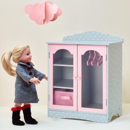 TD0210AG 18 inch Doll Furniture - Fancy Wooden Closet with 3 Hangers and 1 Cubby