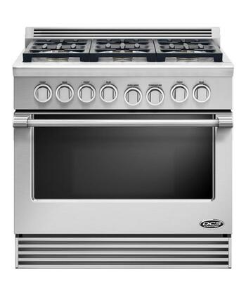 """Professional RDV-366-N 36"""" Slide-In Gas Range With 6 Dual Flow Burners  Dual Convection Oven  Full Extension Racks  and Infrared Broiler in Stainless"""