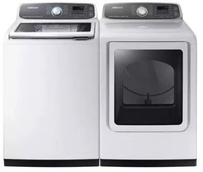 27 Inch Laundry Pair with WA52M7750AW 27 inch  Top Load Washer and DVG52M7750W 27 inch  Gas Dryer in