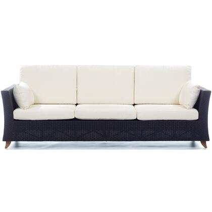 PR90-W 92 inch  Rattan Deep Seating Sofa with Solid Teak Legs  Heavy-Gauge Aluminum Frame and Water Resistant Polyester Fabric Cushion in