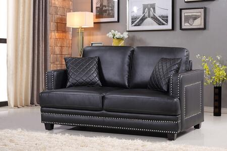 Ferrara 655BL-L 62  Loveseat with Top Quality Bonded Leather Upholstery  Silver Nail Heads Design and Quilted Pillows in