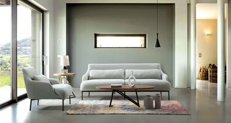 Melrose MELROSESCGR Sofa & Chair 2PC Set with Black Powder Coat Metal Legs  Attached Seat with 2 Lumbar Cushions and Hardwood Frame in Mist Grey