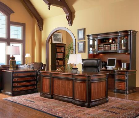 80051100011413 Package Including Pergola Pedestal Desk  Pedestal Kneehole Credenza Desk  Desk Hutch  File Cabinet and