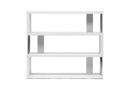 FP-3D-WHITE Baxton Studio Barnes Three-Shelf Modern Bookcase  In