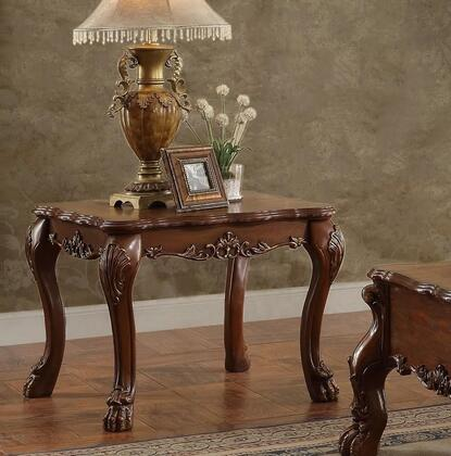 Dresden Collection 82096 28 inch  End Table with Claw Feet  Scrolled Decor Trim Apron and Wood Construction in Cherry Oak