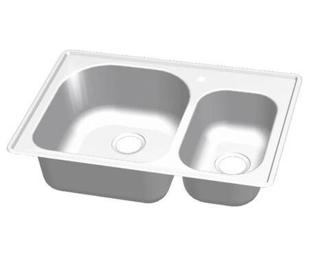 CMT3322-97D Craftsmen Series Stainless Steel Double Bowl Topmount Sinks  Small Bowl on