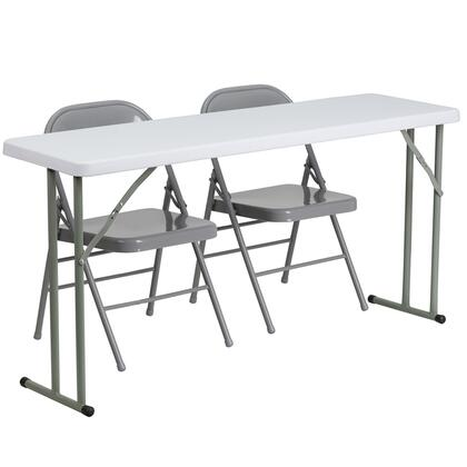 RB-1860-1-GG 18'' x 60'' Plastic Folding Training Table with 2 Gray Metal Folding