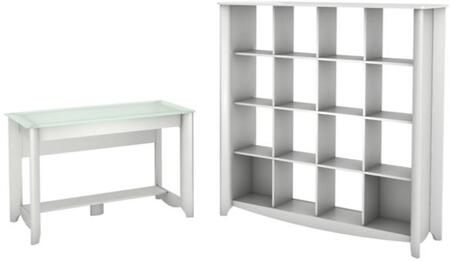 Aero Collection MY16128-03-10 2-Piece Desk Set with Writing Desk and 16 Cube Bookcase in Pure White