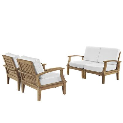 Marina Collection EEI-1818-NAT-WHI-SET 4-Piece Outdoor Patio Teak Sofa Set with Left Arm Sofa  Right Arm Sofa and 2 Armchairs in Natural and