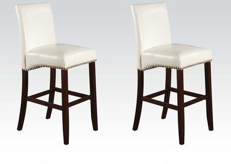 Jakki Collection 96168 Set of 2 24 inch  Counter Height Chairs with Nail Head Trim  Footrest  Wood Frame and Bycast PU Leather Upholstery in White