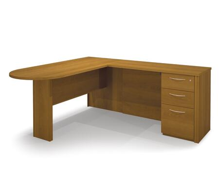 60878-68 Embassy L-Shaped Workstation Kit Including Assembled Pedestal with Scratch and Stain Resistant Surface and Simple Pulls in Cappuccino