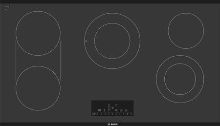 Bosch NET8668UC 36 800 Series Electric Cooktop with 5 Elements, Smoothtop Style and ADA Compliant, Black