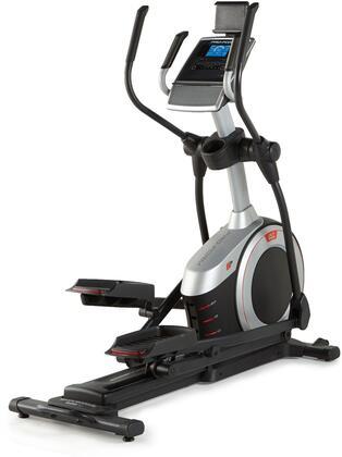 """PFEL55916 Endurance 520 E Elliptical 19"""" Adjustable Stride  Front Mounted Transport Wheels  18 Preset Workout Apps  EKG Grip"""
