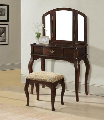Maren 90091 32 inch  Vanity and Stool with 1 Decorative Hardware Drawer  Tapered Legs and Cushioned Stool Seat in Cherry