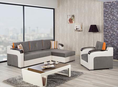 Divan Deluxe DIDESECACGG Package Containing Sectional and Armchair with Pillows  Storage Under the Seats  Stitched Detailing  Curved Arms and Block Feet with