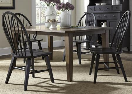 Hearthstone Collection 482-DR-5RLS 5-Piece Dining Room Set with Rectangular Dining Table and 4 Windsor Back Side Chairs in Rustic Oak Finish and Black