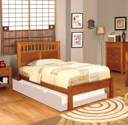 Carus Collection CM7904OAK-T-BED Twin Size Platform Bed with Slat Kit Included  Paneled Headboard  Solid Wood and Wood Veneers Construction in Oak